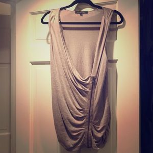 Cynthia Steffe 100% linen taupe tank with zipper